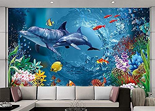 Unterwasserwelt Tapete Ozean Wandmalerei Delphin Fototapete Kinderzimmer Büro TV Hintergrund 3D Interieur Tapete wandpapier fototapete 3d effekt tapeten Wohnzimmer Schlafzimmer-350cm×256cm