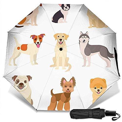 Dogs Collection Manual Dreifach zusammenklappbarer kompakter Reiseregenschirm UV-Schutz Stark Winddicht