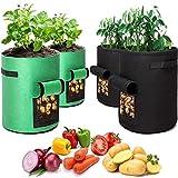 Q-WOOFF Pflanzen Tasche, 4 Stück Kartoffel Pflanzsack (2 Stück 10 Gallonen, 2 Stück 7 Gallonen), Potato Pot Mit Sichtfenster Und Griffen,Zum Pflanzen Von Kartoffeln, Tomaten Und Anderen Pflanzen.