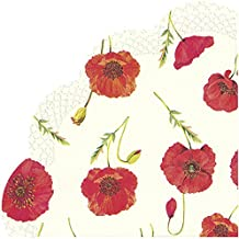 20 x Painted Poppies Poppy Words Thistles Green Red Paper Serviettes Napkins