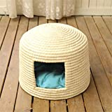 Wuwenw Stroh Katzenstreu Zwinger Haustier Nest Vier Jahreszeiten Mode Nest Haustier Atmungsaktiv Warmen Stroh Haustier Nest Zwinger 44X33Cm