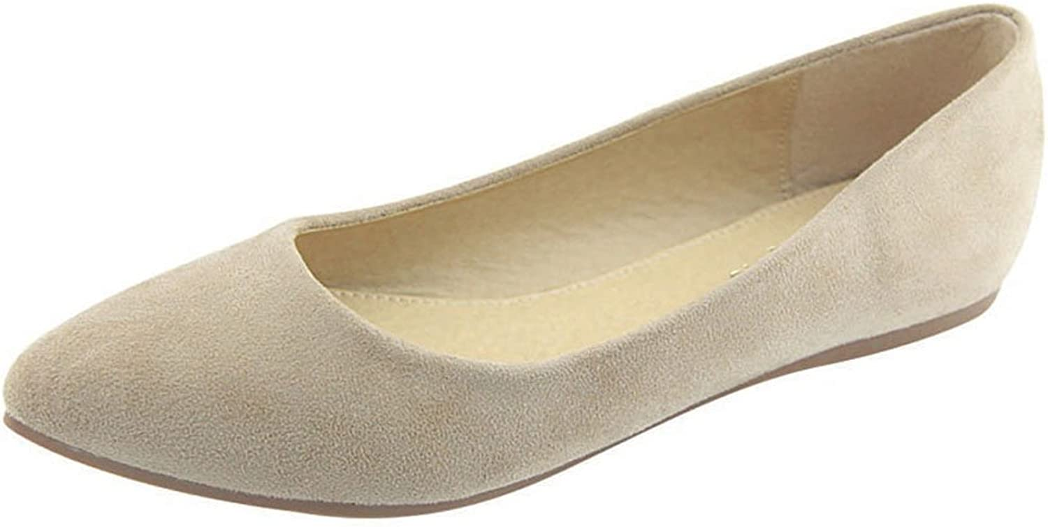 Anna shoes Women's Classic Closed Pointy Toe Slip-on Ballet Flat