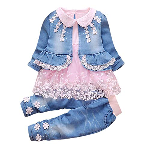 De feuilles Baby Mädchen Bekleidungsset 3 Stück Spitzen Blusen Denim Jacke Lang Hosen Kleinkinder Kleidung Set