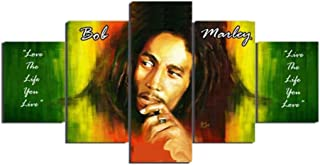 5 Pieces Wailing Wailers Reggae Originator Bob Marley Picture HD Print Painting On Canvas for Home Decor Living Room Framed