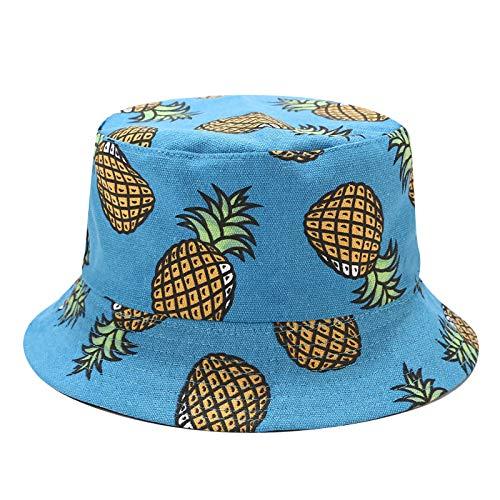 FEELHH Gorro De Pescador,Lona Plegable Piña Impresión Pescador Sombrero De Doble Cara Reversible Anti-UV Portátil Sombrero De Sol Unisex Moda Al Aire Libre Gorra para Mujeres Hombres, Azul