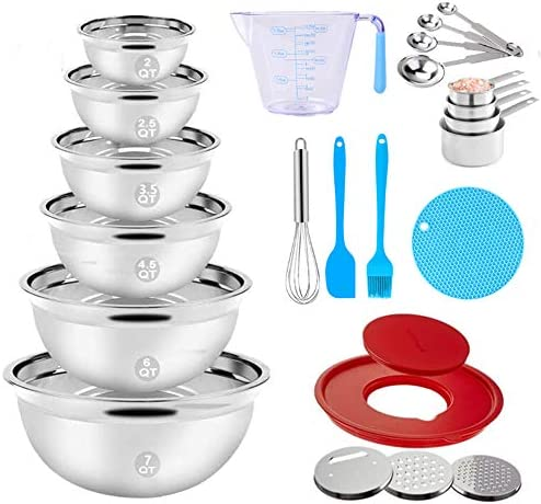 Stainless Steel Mixing Bowls Set 23PCS Nesting Metal Mixing Bowls with 9 4 Lid 3 Graters Attachments product image