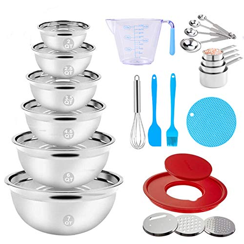"Stainless Steel Mixing Bowls Set, 23PCS Nesting Metal Mixing Bowls with 9.4"" Lid, 3 Graters Attachments, Measuring Cups and Spoons Egg Whisk Brush Kitchen Utensils for Cooking Prepping Baking Supplies"