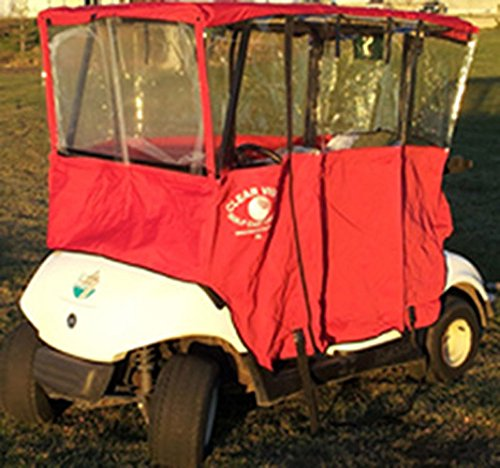 Clear Vision Golf Cart Cover - Red
