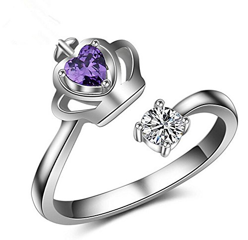 Lumanuby - Bague ouverte en argent avec diamants violet et blanc - Pour femmes et filles - Cadeau idéal pour Noël, la Saint-Valentin, un anniversaire ou un mariage