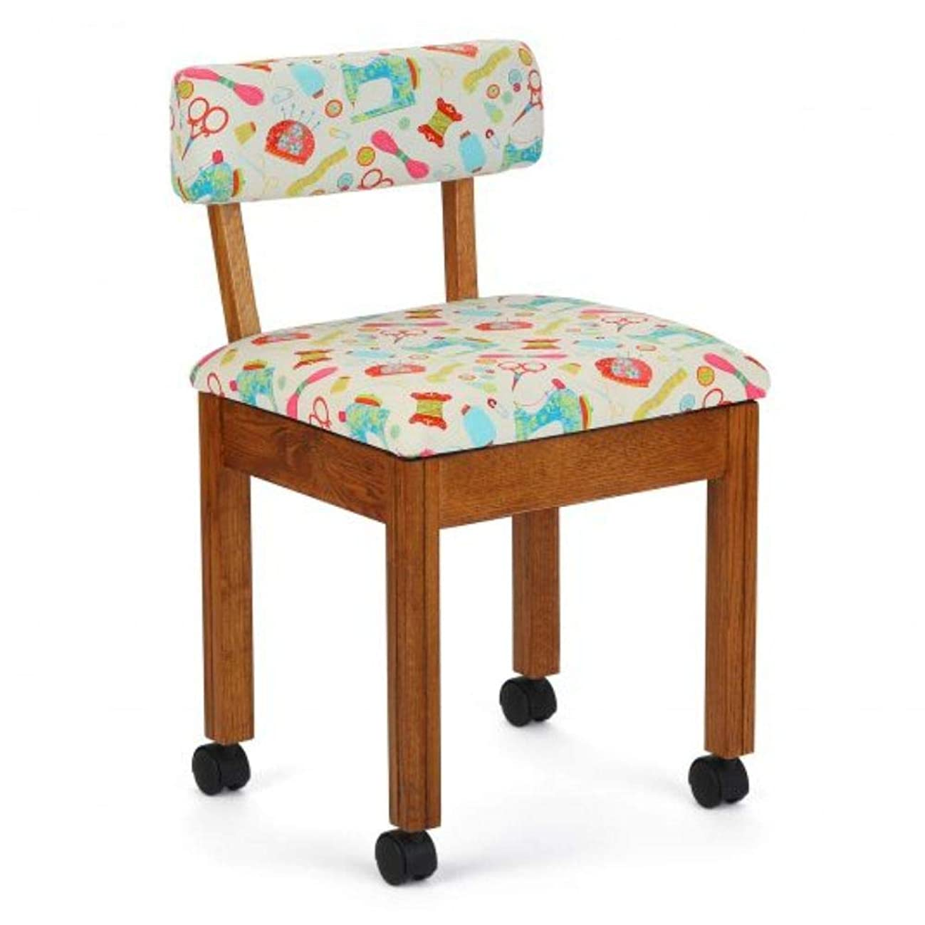 Arrow Sewing Cabinet White Sewing Notions Chair with Gingerbread Scallops - Oak Finish