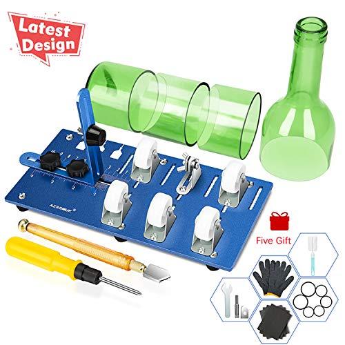 Cortador de botellas de vidrio DIY para vino, cerveza, cristalería de acero inoxidable, ajustable, cortador de botellas, cerveza, botella de vino, juego de corte con cortador de vidrio