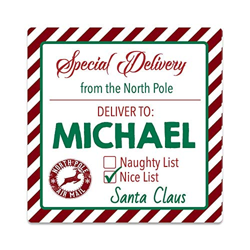 Personalized Santa Tags - Set of 20 Customized Kids Gift from Santa Stickers (GT27)