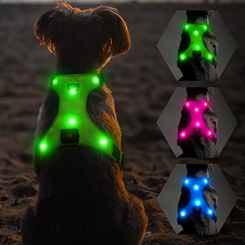 Flashseen LED Dog Harness, Lighted Up USB Rechargeable Pet Harness, Illuminated Reflective Glowing Dog Vest Adjustable Soft Padded No-Pull Suit for Small, Medium, Large Dogs (Green, M)