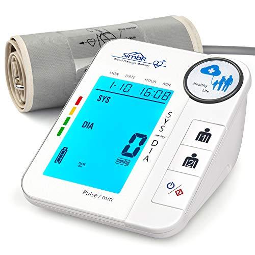 SIMBR Tensiómetro de Brazo con Memoria (2×128) Monitor de Tension Arterial Digital con Detección de Arrítmia y Gran Pantalla LED