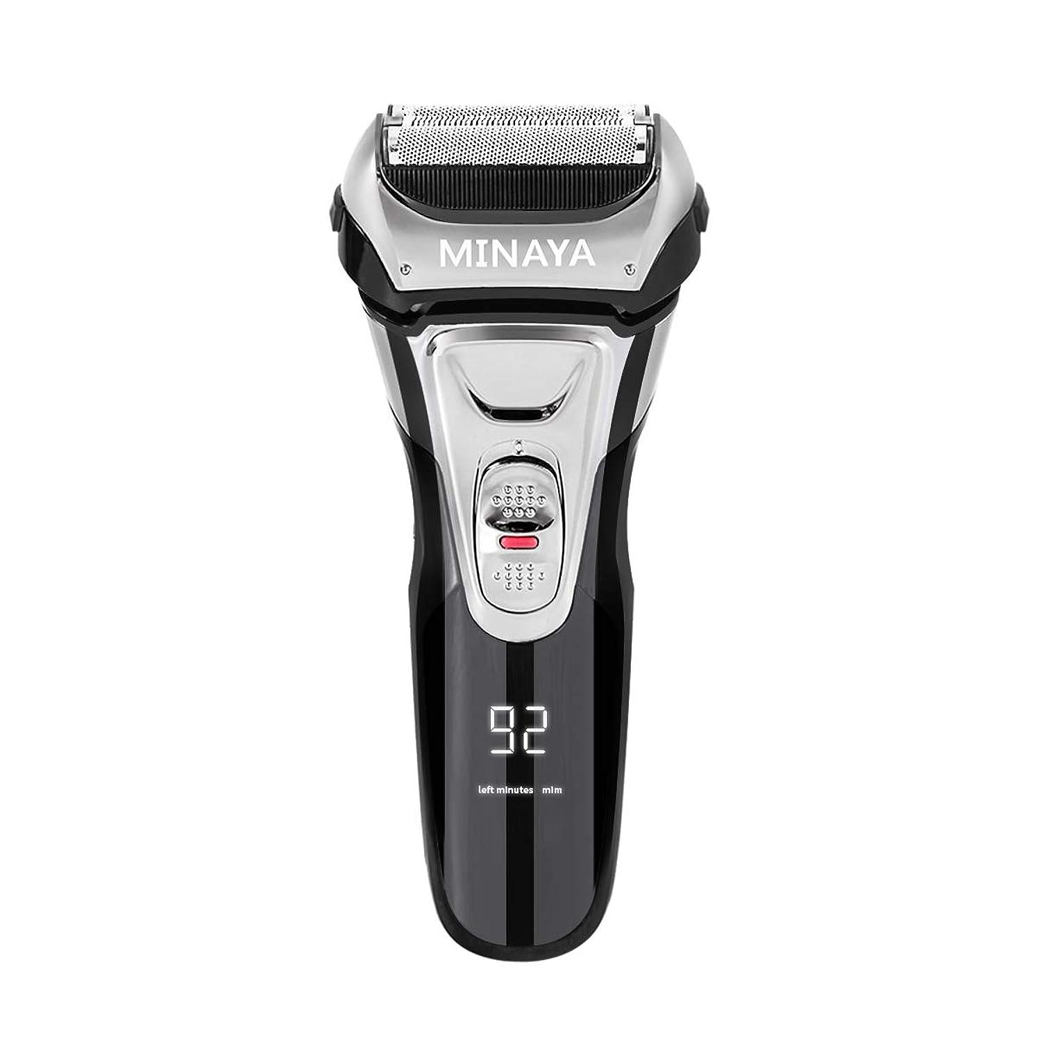 侵入する作り手順電気シェーバー メンズ シェーバー 往復式 3枚刃 髭剃り 電動 カミソリ LEDディスプレイ USB充電式 IPX7防水 水洗い/お風呂剃り対応
