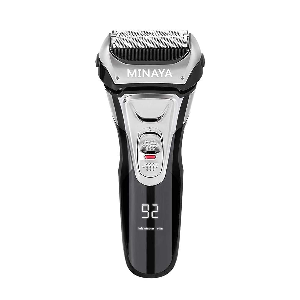 圧力彼アーティスト電気シェーバー メンズ シェーバー 往復式 3枚刃 髭剃り 電動 カミソリ LEDディスプレイ USB充電式 IPX7防水 水洗い/お風呂剃り対応