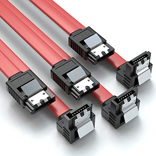 JAMEGA – 0,5m SATA-3 Kabel | S-ATA 6 Gb/s High Speed SSD HDD Datenkabel 90° Winkel | 3er Set Farbe: Rot