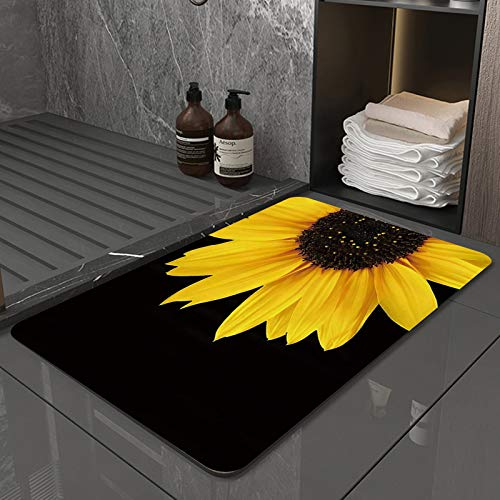 La Alfombra de baño es Suave y cómoda, Absorbente, Antideslizante,Girasol Autumal Flor Silvestre Half Zoom Up Girasol Naturaleza Arte Negro y AmarilloApto para baño, Cocina, Dormitorio (50x80 cm)