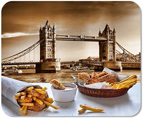 Michael Crofts Tapis De Souris Ordinateur Bloc-Notes Bureau British Fish and Chips Contre Tower Bridge À Londres Home School Jeu Joueur Ordinateur Travailleur
