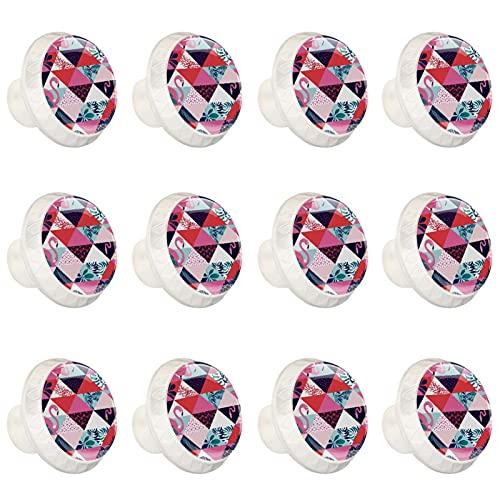 Geometrico Flamingo Tropicale Leaves1.37 '' Cassetto Tirare Maniglie per Armadi Cucina Cassettiera Armadio Tirare Maniglie12 PzWholesale