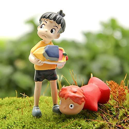 Home decoration 2 Pcs/set Kawaii Ponyo on The Cliff Resin Figures Toy Gardening Boy Fish Ornament Action Figure Home Decor New Gift for Friends