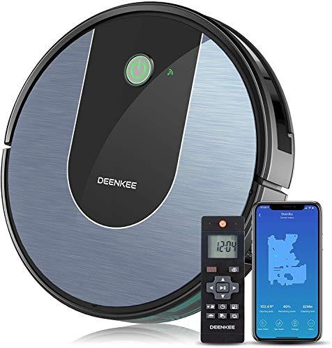 Deenkee Robot Aspirapolvere Lavapavimenti, App/Alexa/Google Assistant, 2-in-1 Lava e Aspira, 120 Minuti Standby, Ricarica Automatica, Aspirapolvere Robot Ideal per Peli di Animali, Polvere, Pavimenti