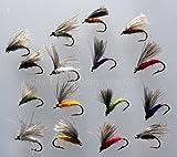 Trout-Fishing-CDC-Emergers-Köder für das Fliegenfischen, gebunden mit CDC, 16Fliegen, mit Aufbewahrungskasten, Größen 10–14, Nr. 317