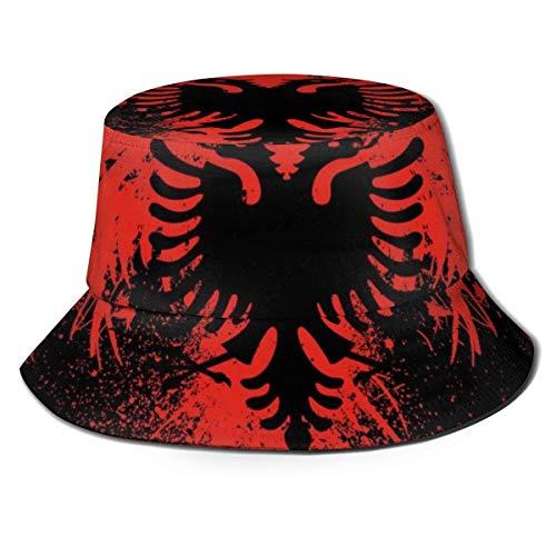 LinUpdate-Store Eimer Hut Männer Frauen Eimer Hut Fischer Kappe Packbar Outdoor Breitkrempe Visier Sonnenhut Rot Schwarz Albanische Flagge von Eagle Bird
