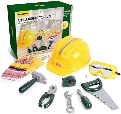 BeebeeRun 10 teiliges Kinder Werkzeug Set, Werkzeugset für Kinder,Werkzeug Spielzeug Setie Maßband und Schutzhelm, Pädagogisch und Rollenspiel für Kleinkinder für 2 3 4 jährige Mädchen Jungen