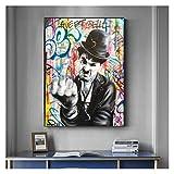 RHWXAX Modern Graffiti Art Street Pop Art Pinturas de Lona Cuadros Posters e Imprimir imágenes de la Pared for la decoración de la Sala de Estar de la casa Moderna 24x32 Inch Sin Marco
