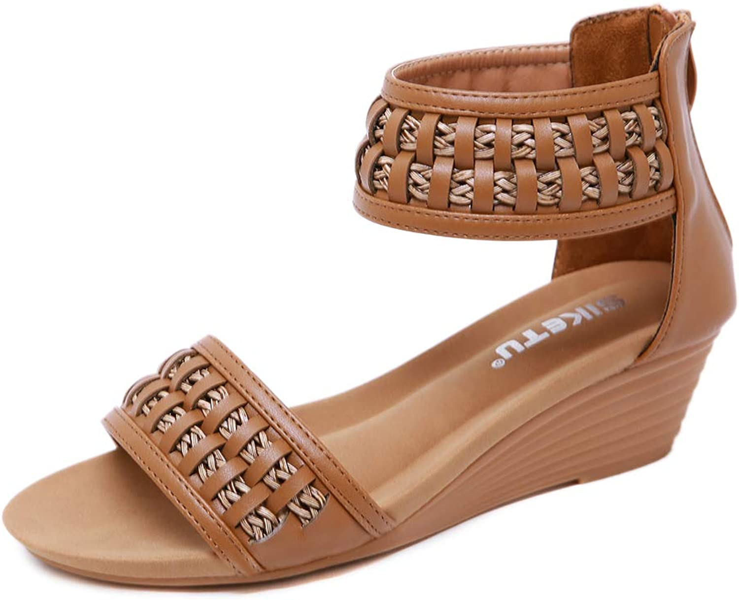 AGOWOO Gladiator Wedge Sandals for Women Fashion Weave Zipper Strap Sandles