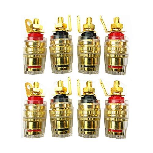 8 Stück vergoldet Bananen-buchse Lautsprecher Terminal Bananen Buchsen Lautsprecher Polklemme Anschluss Anschlussklemmen, 4mm