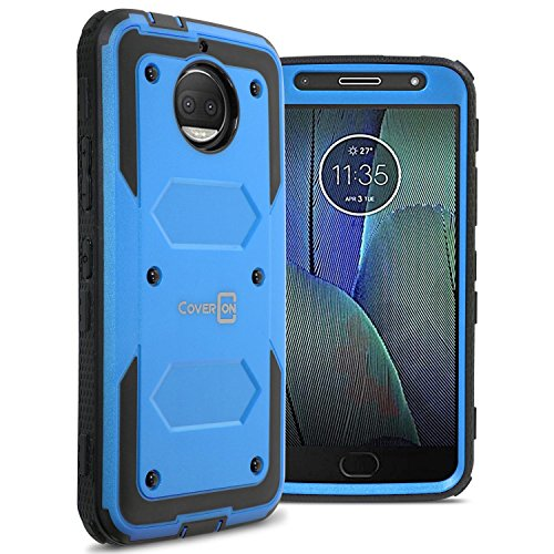 Motorola Moto G5S Plus Case, CoverON [Tank Series] Protective Full Body Phone Cover with Tough Faceplate - Blue