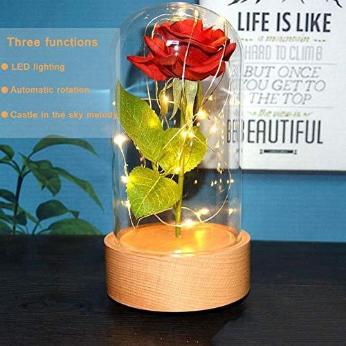 Belle en het beest Rode roos in een glazen koepel met LED-licht en voet voor Valentijnsdag Moederdaggeschenken Gratis schip, met muziek, Frankrijk