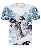 Idgretim Frauen Männer T-Shirt 3D Gedruckt Zwei Wolf Kurzarm für Sommer