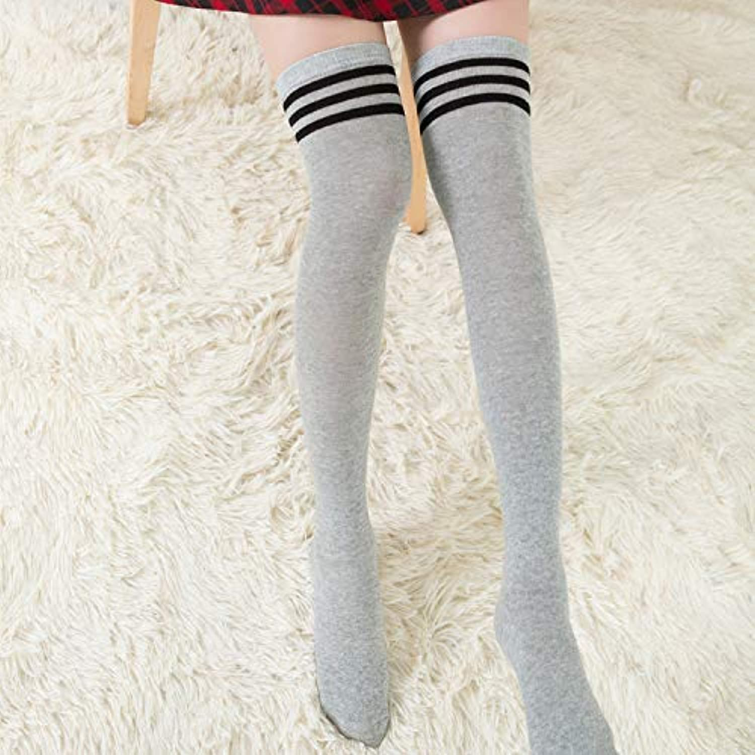 Lady's Socks Striped high Tube Over The Knee Autumn and Winter Ladies Stockings Knitting Three Bars Cotton Long (color   Light Grey)
