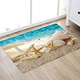Non Slip Bath Rugs Sponge Foam for Bathroom,Durable Soft Flannel Mat Bright 3D Print Rug for Living Room, Absorbent Water Clearance MatS for Forlaundry Room and Kitchen,Ocean Beach Themed Decor carpt