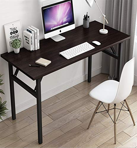 39' Dark Brown Writing Desk No Assembly Foldable Computer Table,Folding Commercial Table Training Table for Teens/Office/Home