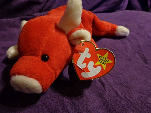 "RARE Retired ""Snort the Red Bull"" Ty Beanie Babies w/near MINT tags, PVC Pellets, No # Stamp, Errors"