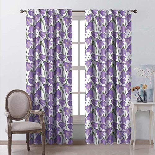 Toopeek Heat insulation curtain Bluebells Garden For living room or bedroom W100 x L84 Inch