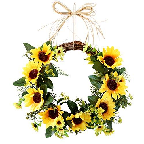 tellaLuna Guirnalda de girasol artificial para colgar en la puerta, ceremonia, decoración del hogar, fiesta, puerta delantera, decoración para colgar con hojas