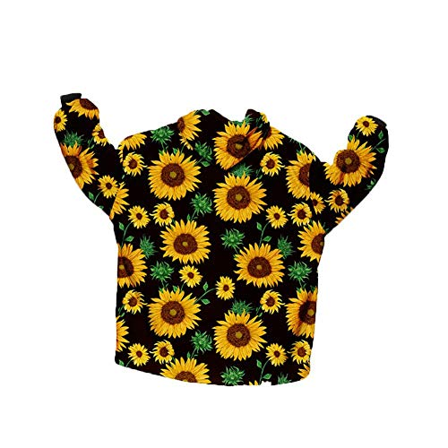 Torey 1 piece soft comfortable sunflower hooded blanket, warm in winter, sofa blanket, warm, skin-friendly blanket, fun, unique design blanket for indoor and outdoor use.