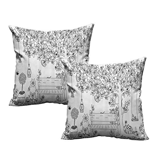 2 Piece Square Indoor Pillowcase Floral Tree with Lanterns Butterflies and Swing in Garden Dream Space Illustration 26'x26',Comfy and Lovely