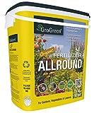 GroGreen Organic All Round ECO 4-3-2 + 1% Mg + 9% Ca, secchio da 7,5 kg Organico Fertilizzante Biologico per Giardino Orto e Prato