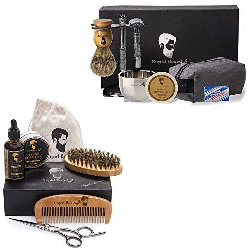 Beard Grooming & Trimming Kit and Shaving Kit Bundle