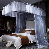 N/Z Inicio Equipamiento Princesa Romántica Mosquitera Decorativa Dormitorio Cama Dosel Cifrado Malla Gruesa Rodeado Anti Mosquito 4 Esquina Cuadrada Mosquitera Tienda para Niñas Rosa 2.0M