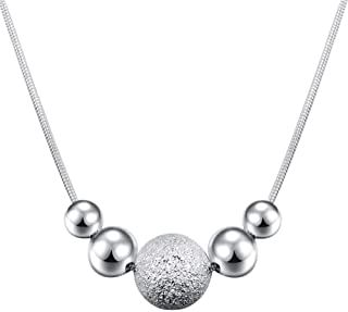 Charm Chain Bead Necklace Fashion Chic Circular Pendant Necklace Gift Jewelry for Women Girls