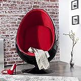 cagü: Design Retro Lounge Sessel Sitzei [EGG BALL] Schwarz-Rot drehbar Designklassiker Space Age, NEU!