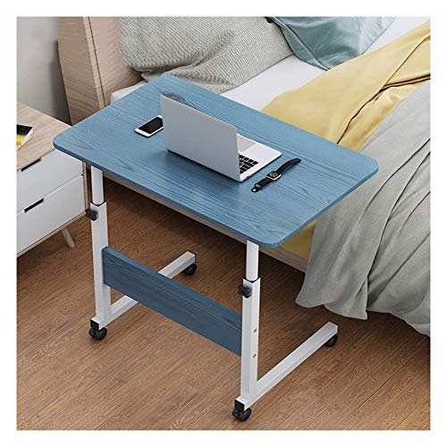 WEICG Mobile Lap Table Portable Side Table, Overbed Table With Castors, Does Not Take Up Space, Adjustable Height, For Home And Office (Color : Blue, Size : 60x40x(69-90) cm)