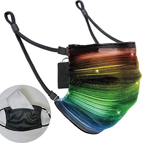 LED Maske, Leuchtende Maske mit 7 Farben und 5 Blitzmodi - LED Party Maske für Erwachsene - Alltagsmaske mit Licht -Mundbedeckung inkl. herausnehmbare Filter - schwarz